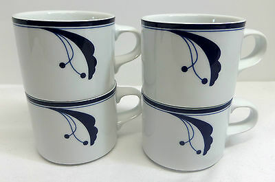 Lot of 4 Dansk Flora Bayberry Blue Coffee Mugs Portugal