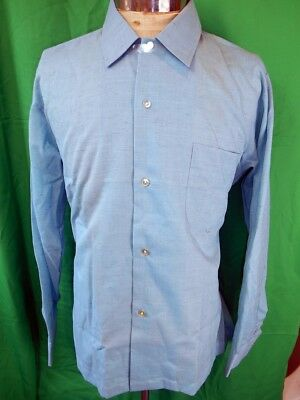 "Vintage 1960s Bright Blue Gloweave ""Gay-Life"" Long Sleeve Shirt NOS Never Worn M"