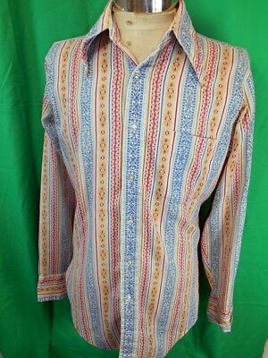 Vintage 1960s 70s Groovy Psych Red Blue Gold Hippie Poly/Cotton Arrow Shirt M