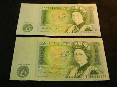Bank Of England One Pound Note (2) For (1) Sale.