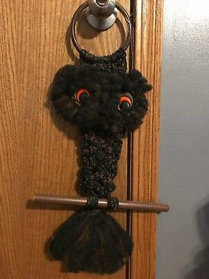 Vintage Unique Brown Macrame Owl Orange Eyes 70's Retro 22 Inches From Hanger