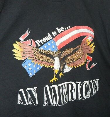 VINTAGE 1990 PROUD TO BE AN AMERICAN T-Shirt Black Eagle Flag USA made size XL
