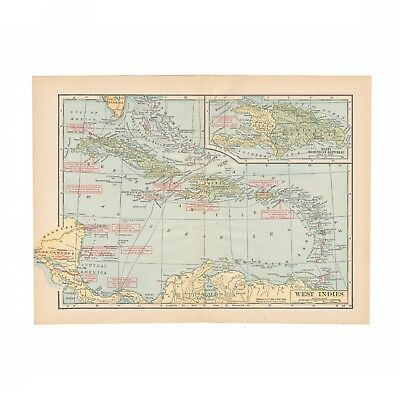 """Vintage map of the West Indies from 1931 disbound """"The Source Book"""""""