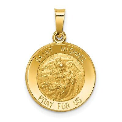 14k Yellow Gold Polished and Satin St. Michael Medal Pendant. (0.6INx0.5IN)
