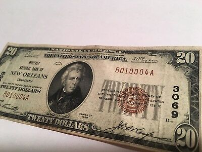 $20 Whitney National Bank of New Orleans National Currency 1929 Money #3069