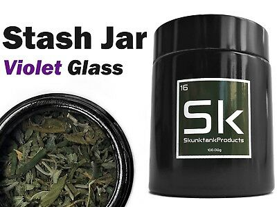 Stash Jar - Violet Glass Airtight 1/4oz Weed & Herb Container
