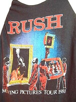 Vintage 1981 RUSH Moving Pictures US Tour T Shirt Baseball Athletic Rock&Roll L
