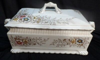 Blue Pink Floral Decorated Rectangle Ironstone Soup Tureen