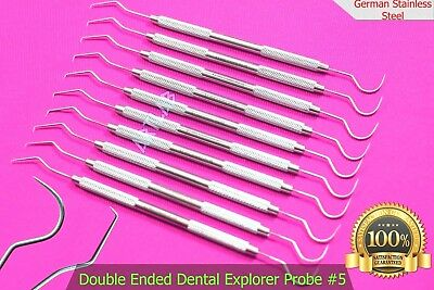 10 Passivated Dental Scaler Probe #5 Explorer Pick German Stainless Autoclavable