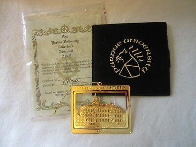 Purdue University Collector Christmas Holiday Gold Ornament 1998 University Hall