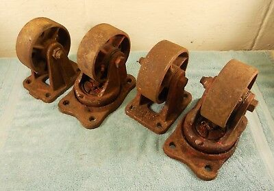 "Vintage 4"" Cast Iron Industrial Casters Set of (4) old Red Paint"