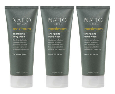 3 x Natio For Men Maximum Energising Body Wash 210mL