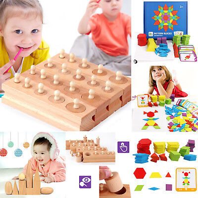 Children Kid Baby Wooden Toys Early Educational Games Cylinder Socket Blocks Toy