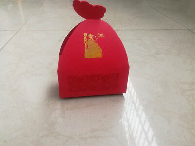 50pcs Luxury Candy Boxes Wedding Favor Box Red Craft Sweet Party Gift Bag