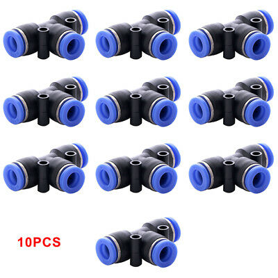 6mm Pneumatic T Tee Fitting Hose Tube Inline Push Fit Connector Air Line 10pc JA