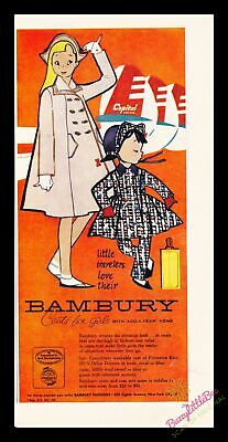 Print Ad~1954~Bambury Coats for Girls~Illustration~Vibrant~Color~I200