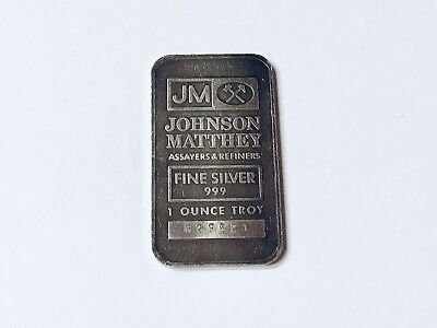 ~ Vintage ~ Johnson Matthey .999 Fine Silver Bar, One Troy Ounce