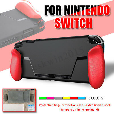 6 IN 1 Ergonomic Grip Protective Case+Tempered Film +Bag Kit For NINTENDO SWITCH