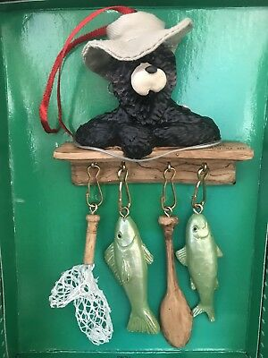 Kurt S Adler Vtg Ornament Holly Dearies & Friends Bear Fish Fishing NIB