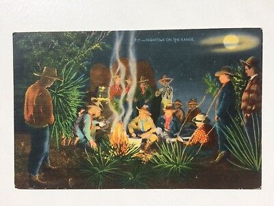 Vintage Postcard Linen Texas Nighttime on the range, Cowboys, Campfire C.1953