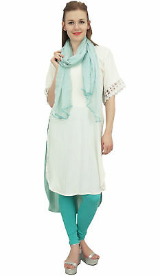 Bimba Women Designer White High Low Straight Kurti Dress With Printed Scarf