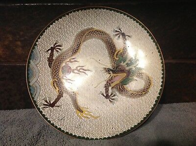 Antique Japanese Cloisonne Enamel Charger Plate Dish - DRAGON - 8 Inches
