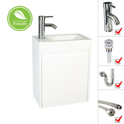 """Bathroom Paint Vanity 16"""" Small Wall Mount Gray/White W/Sink Faucet Drain Set"""