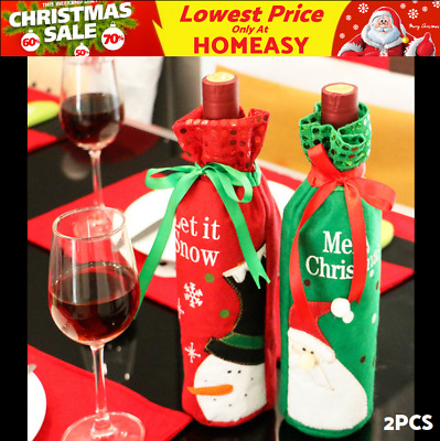 2× Christmas Decoration Sequins Snowman / Santa Claus Red Wine Bottle Cover Bags