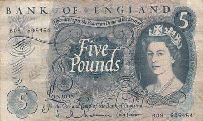 Old UK Great Britain England Banknote 5 Pounds - P375