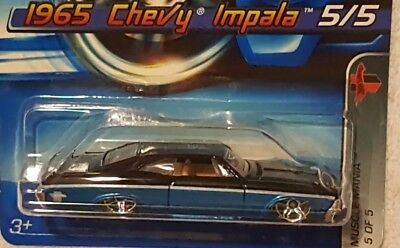 Hot Wheels 2005 Muscle Mania 1965 Chevy Impala Black Lt Blue 105