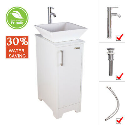 14 White Small Bathroom Vanity Cabinet Square Vessel Sink W Faucet