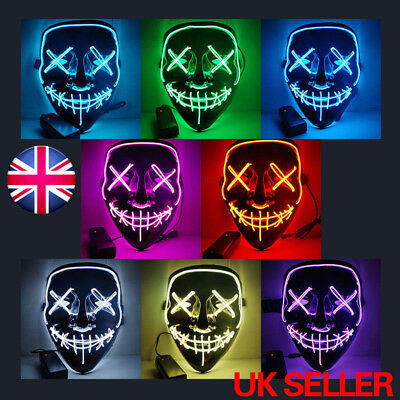 2018 Halloween Mask Cosplay Led Costume EL Wire Light Up The Purge Movie Party