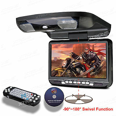 "XTRONS 9"" digital LCD Auto Deckenmonitor DVD Player Flipdown IR FM SCHWARZ"
