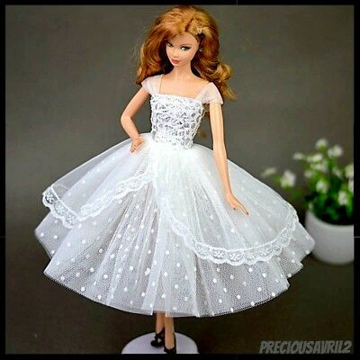 Brand new Barbie doll clothes outfit princess wedding gown white cocktail dress.