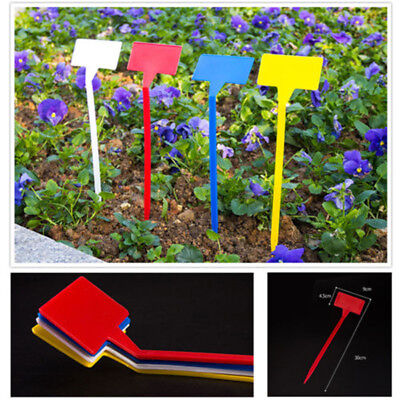 5/20PC 30cm T-Type Upturned Seed Plant Labels Plastic Tags Nursery Garden Marker