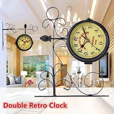 Double Sided Bell Outdoor Station Clock Garden Wall Outside Bracket 29x24cm
