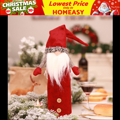 Christmas Decoration Sequins Santa Claus Red Wine Bottle Cover Bags Body + Head