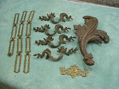 #49 Lot 9 Antique Bronze Brass Cast-Iron Hardware Drawer Pulls Handles Fancy Cha
