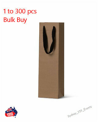 Premium Kraft Wine Bags Brown Single  Bottle Gift Bags Twill Ribbon Handles Bulk