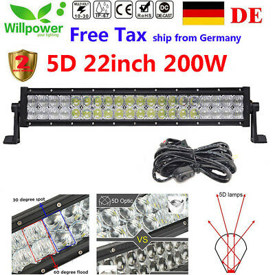 22inch 200W Cree LED Light Bar SPOT FLOOD Off Road SUV 4WD 5D Driving Lamp 120