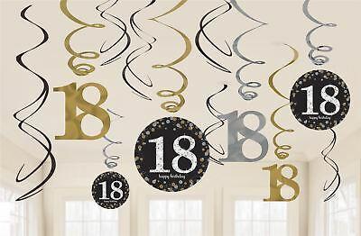 12 X 18TH Birthday Hanging Swirls Black Silver Gold Party