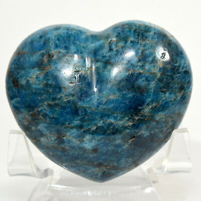 "2.2"" Rich Blue Apatite Heart Sparkling Natural Quartz Crystal Stone - Madagascar"