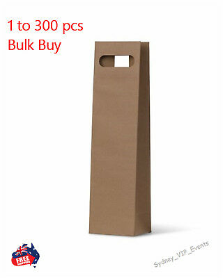 PREMIUM KRAFT WINE BAGS BROWN SINGLE BOTTLE GIFT BAGS DIE CUT 1 to 300 PCS BULK