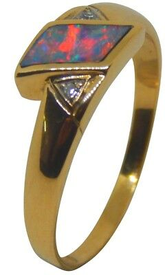 SOLID LIGHTNING RIDGE INLAY CRYSTAL OPAL IN 18ct SOLID GOLD RING WITH DIAMONDS