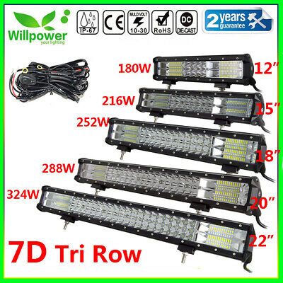 TRI ROW 15/18/20/22inch LED Work Light Bar Off road Car Truck SUV Driving Lamp