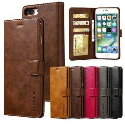 For iPhone X SE 6s 7 8 Plus Leather Wallet Magnetic Flip Case Card Cover Stand J