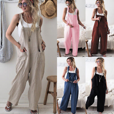 Fashion Women Dungarees Overall Playsuit Ladies Romper Pants Long Loose Jumpsuit