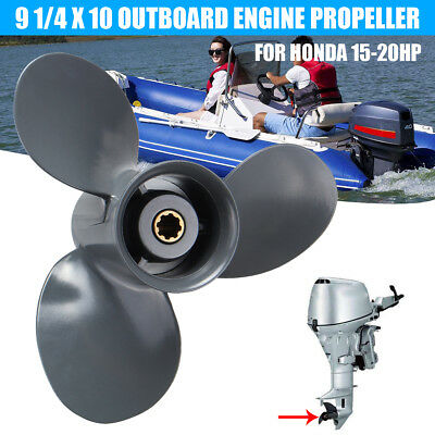 3 Blade Aluminum 9 1/4 x 10 Outboard Engine Propellers Prop For Honda 15-20HP