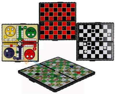 Magnetic Travel Games Compact Chess Draughts Ludo Snakes & Ladders Fun Xmas Toy