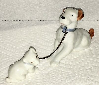 """Antique Early Bisque Miniature Dog & Puppy Figurine Red Inked """" Made in Japan """""""